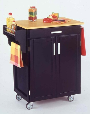 Kitchen Cart in Black with Wood top - 90010041