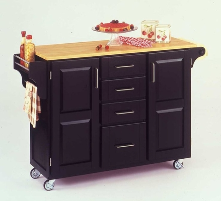 Kitchen Cart in Black with Wood top - 91001041