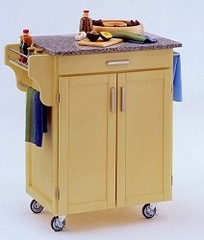Kitchen Cart in Butter Yellow with Granite top - 90010053