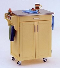 Kitchen Cart in Butter Yellow with Stainless Steel top - 90010052