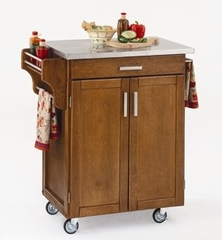 Kitchen Cart in Cottage Oak with Stainless Steel top - 90010062