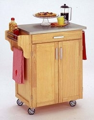 Kitchen Cart in Natural with Stainless Steel top - 90010012