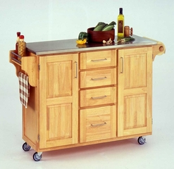 Kitchen Cart in Natural with Stainless Steel top - 91001012