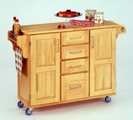 Kitchen Cart in Natural with Wood top - 91001011