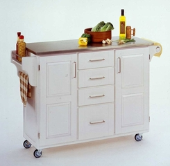 Kitchen Cart in White with Stainless Steel top - 91001022