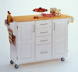 Kitchen Cart in White with Wood top - 91001021