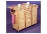 Kitchen Cart - Kitchen Center with Breakfast Bar in Natural Finish - 5089-95