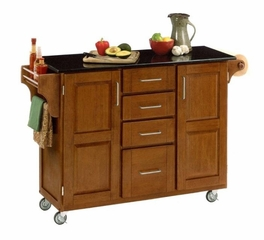 Kitchen Cart - Large Create-a-Cart with Granite Top in Cottage Oak - Home Styles - 9100-1065