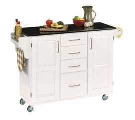 Kitchen Cart - Large Create-a-Cart with Granite Top in White - Home Styles - 9100-1025