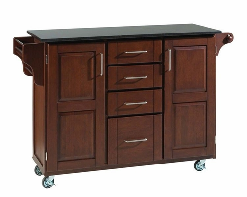 Kitchen Cart - Large Create-a-Cart with Gray / Salmon Granite Top in Cherry - Home Styles - 9100-1075