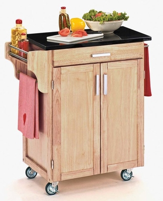 Kitchen Cart - Natural Wood Cart with Black Granite Top - Home Styles - 9001-0014