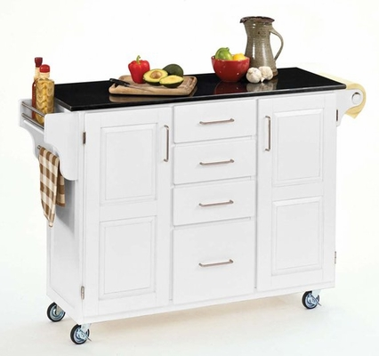 Kitchen Cart - White Wood Cart with Black Granite Top - Home Styles - 9100-1024