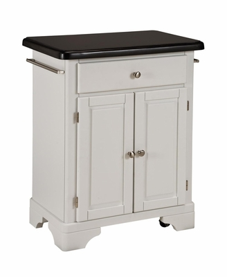 Kitchen Cart with Black Granite Top in White - Home Styles - 9003-0024