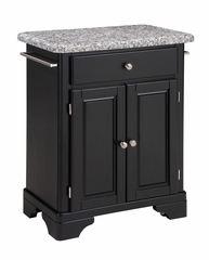 Kitchen Cart with Gray Granite Top in Black - Home Styles - 9003-0043