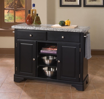 Kitchen Cart with Gray Granite Top in Black - Home Styles - 9300-1043
