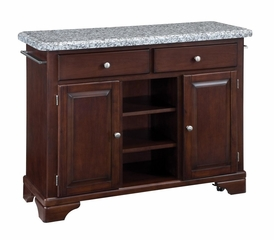 Kitchen Cart with Gray Granite Top in Cherry - Home Styles - 9300-1073