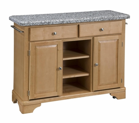Kitchen Cart with Gray Granite Top in Maple - Home Styles - 9300-1093