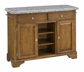 Kitchen Cart with Gray Granite Top in Oak - Home Styles - 9300-1063