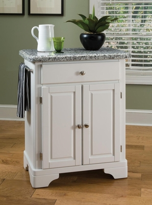 Kitchen Cart with Gray Granite Top in White - Home Styles - 9003-0023
