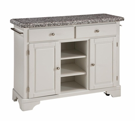 Kitchen Cart with Gray Granite Top in White - Home Styles - 9300-1023