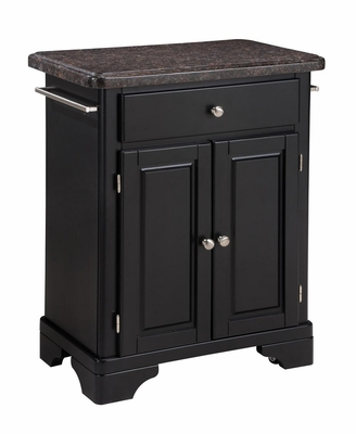 Kitchen Cart with Salmon Granite Top in Black - Home Styles - 9003-0045