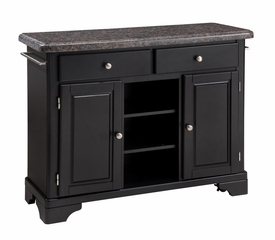 Kitchen Cart with Salmon Granite Top in Black - Home Styles - 9300-1045