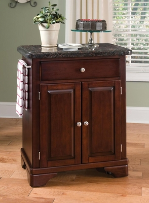 Kitchen Cart with Salmon Granite Top in Cherry - Home Styles - 9003-0075