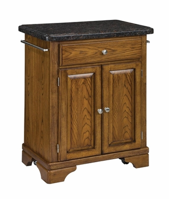 Kitchen Cart with Salmon Granite Top in Oak - Home Styles - 9003-0065