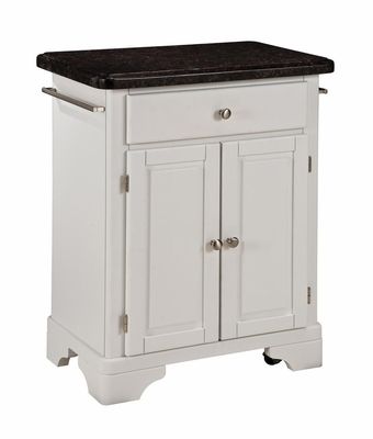 Kitchen Cart with Salmon Granite Top in White - Home Styles - 9003-0025