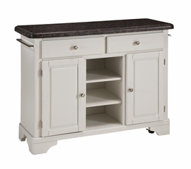 Kitchen Cart with Salmon Granite Top in White - Home Styles - 9300-1025