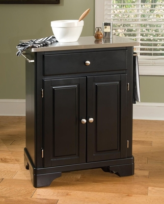 Kitchen Cart with Stainless Top in Black - Home Styles - 9003-0042