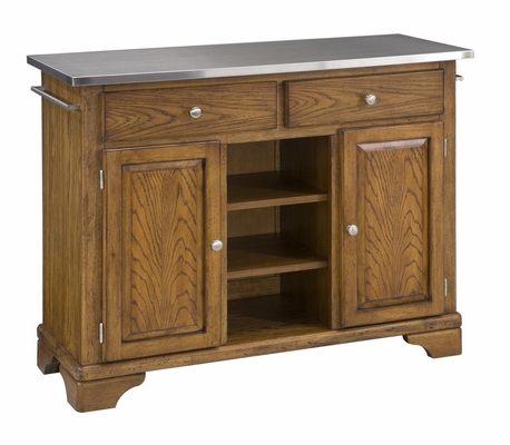 Kitchen Cart with Stainless Top in Oak - Home Styles - 9300-1062