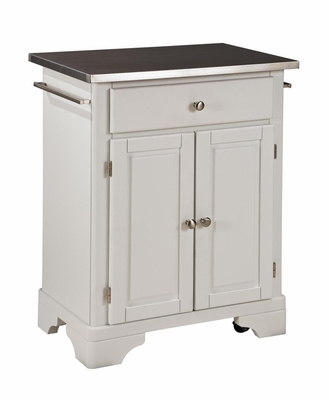 Kitchen Cart with Stainless Top in White - Home Styles - 9003-0022