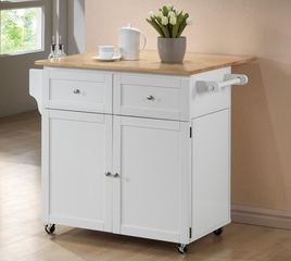 Kitchen Cart with Trash Compartment in White - 900558