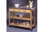 Kitchen Cart with Wood and Stainless Steel Top in Natural Finish - 5217-95
