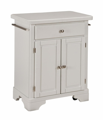 Kitchen Cart with Wood Top in White - Home Styles - 9003-0021