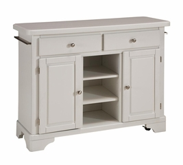 Kitchen Cart with Wood Top in White - Home Styles - 9300-1021