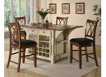Kitchen Island and Bar Stool Set in Buttermilk / Cherry - Coaster - 102271-2-DSET