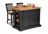 Kitchen Island and Two Stools in Black / Oak - Home Styles - 5003-948