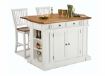 Kitchen Island and Two Stools in White / Oak - Home Styles - 5002-948