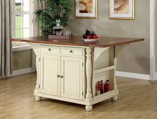 Kitchen Island in Buttermilk / Cherry - Coaster - 102271