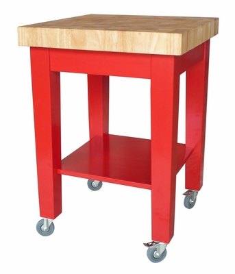 Kitchen Island in Red / Natural - WC21-2424