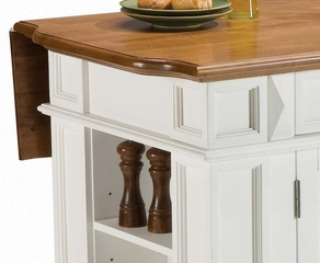 Kitchen Island in White with Oak Top - Home Styles - 5002-94