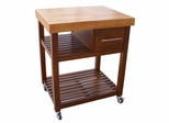 Kitchen Work Center with Casters in Cinnamon / Espresso - WC58-3