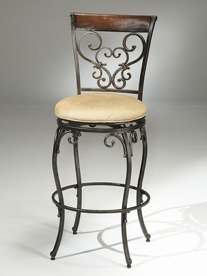 Knightsbridge Swivel Bar Stool with Wood/Metal Back - Hillsdale Furniture - 4940-830