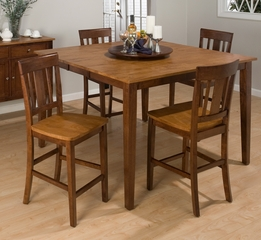 Kura Espresso and Canyon Gold 5PC Pub Table Set with Lazy Susan - 875-54