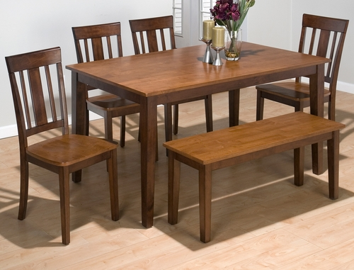 Kura Espresso and Canyon Gold Rectangle Table Set with 4 Chairs and Bench - 875-60
