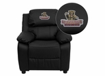 Kutztown University Golden Bears Embroidered Black Leather Kids Recliner - BT-7985-KID-BK-LEA-41042-EMB-GG