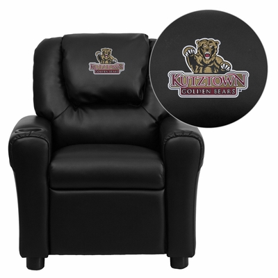 Kutztown University Golden Bears Embroidered Black Vinyl Kids Recliner - DG-ULT-KID-BK-41042-EMB-GG