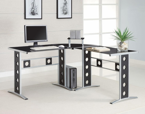 L Shape Desk in Silver and Black - 800228